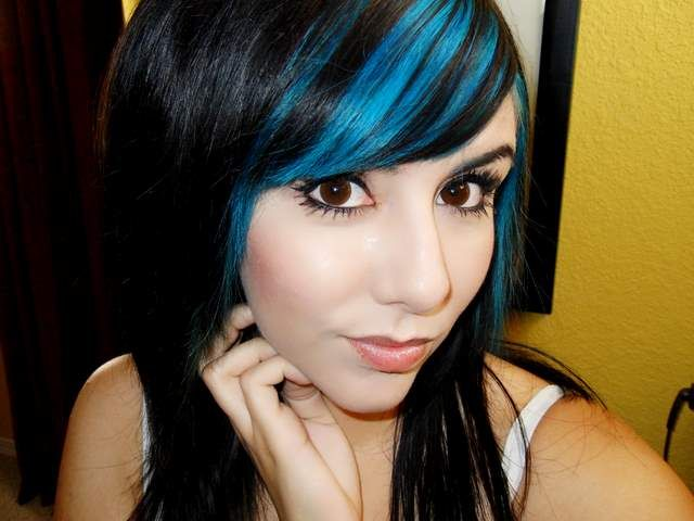 black and aqua highlights in bangs edgy hairstyles for
