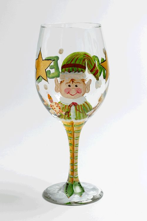 Glass painting christmas elf wine stem when i have a for Christmas painted wine glasses pinterest