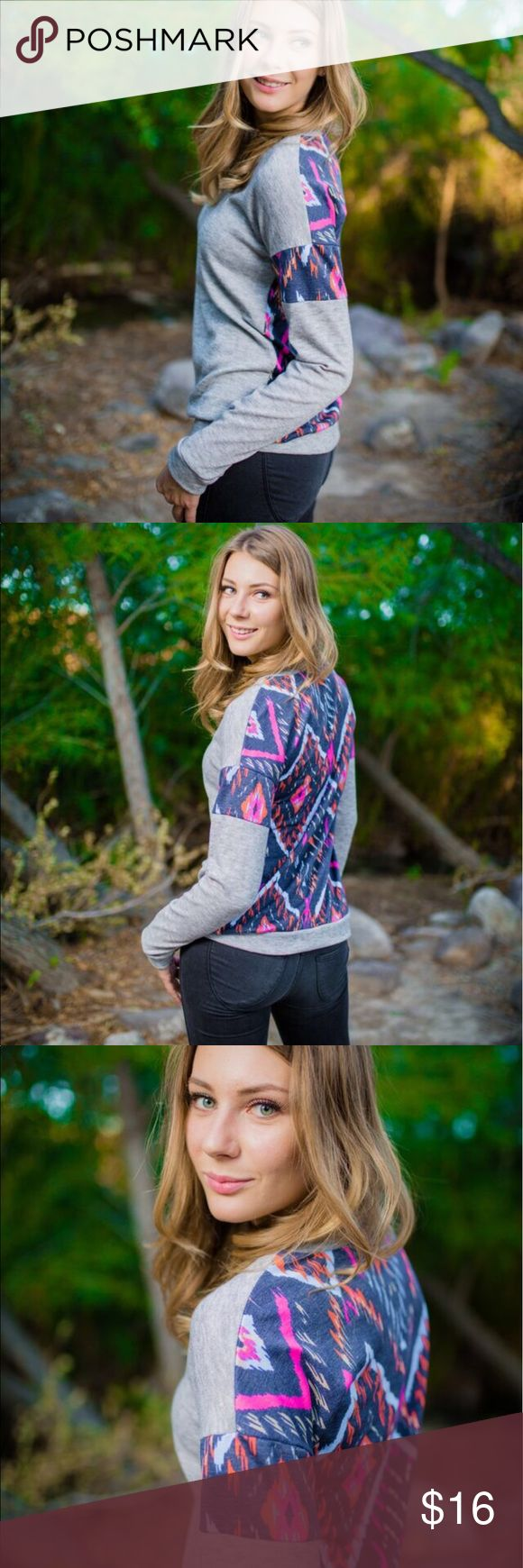 Tribal print sweater Model is wearing a size small. Fits true to size. Sweaters Crew & Scoop Necks