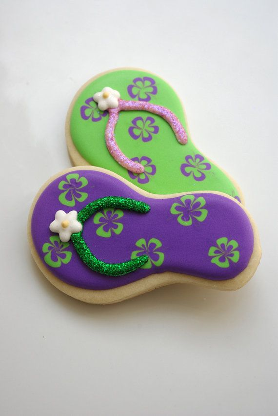 Flip Flop cookies~ by iBakery on Etsy, Purple, green