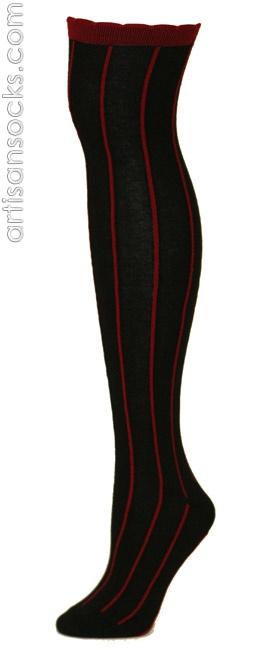RocknSocks Slick Black Vertical Striped Cotton Over the Knee Socks (OTK) from Artisan Socks www.artisansocks.com