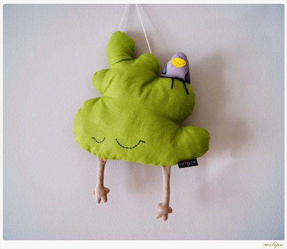 "Tree Shaped Pillow Stuffed Toy Stuffed Baby Mobile Kids Toy Plush Tree Stuffed Bird Nursery Room Decor Wall Decor Green Beige 16"" (40cm) - €37.00"