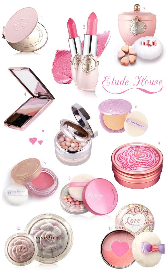 1. Etoinette Princess Mirror, $8.99 / 2. Etoinette Crystal Shine Lips, $19.99 / 3. Etoinette Crystal Heart Blusher in Coral Masquerade, $39.99 / 4. Prism Multi Blusher, $25.99 / 5. Shimmering Ball Blusher, $46.99 / 6. BB Magic Pact, $17.99 / 7. Rose Cheek Chalk in Rose Pink, $9.99 / 8. Diamond Collection Star Glow Ball Powder, $19.99 / 9. Rose Essence Lip Balm, $9.99 / 10. Mineral Rose Marbling Brighter, $16.99 / 11. Love Fantasy Blush, $19.99