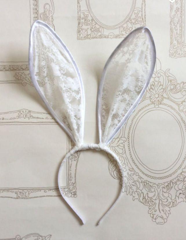 Ivory lace Bunny Ears Headband...
