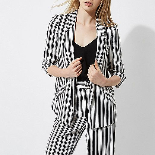 Black mono stripe ruched sleeve blazer - blazers - coats / jackets - women