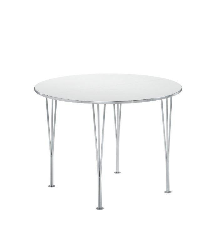 Ida+Spisebord+-+Rundt+hvitt+spisebord+med+stålkant+og+kromben.+Bordet+leveres+med+to+ileggsplater.+Bordet+er+enkelt+og+praktisk+med+et+rent+og+lett+uttrykk.+Passer+godt+i+mange+hjem+med+det+enkle+og+diskré+uttrykket.