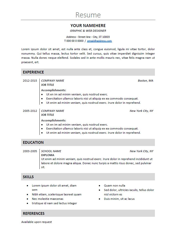 Classic Resume Template Find This Pin And More On Classic Resume