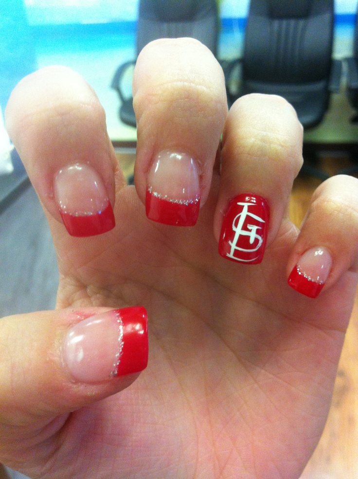St.Louis Cardinals nails!!! Lilly's nails in Arnold, mo. She did such a great job!! Love them! And the cardinals!