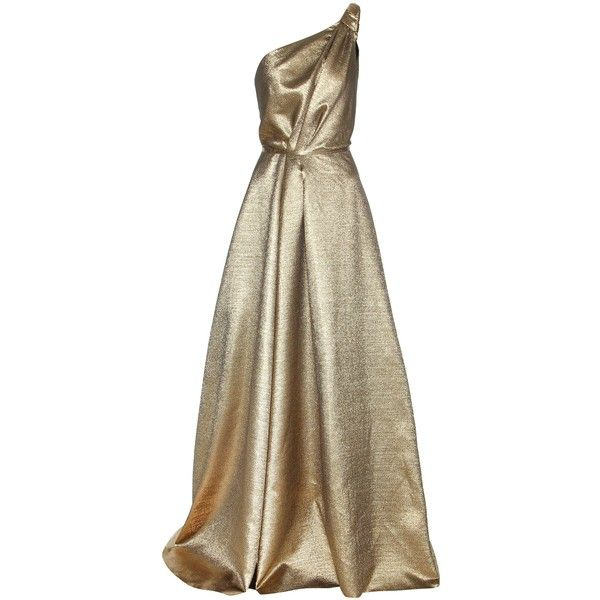 Carolina Herrera mytheresa.com Exclusive One-Shoulder Metallic Gown (14,085 PEN) ❤ liked on Polyvore featuring dresses, gowns, long dress, cocktail/gowns, gold, cocktail dresses, evening gowns, metallic evening gowns, long cocktail dresses and holiday dresses