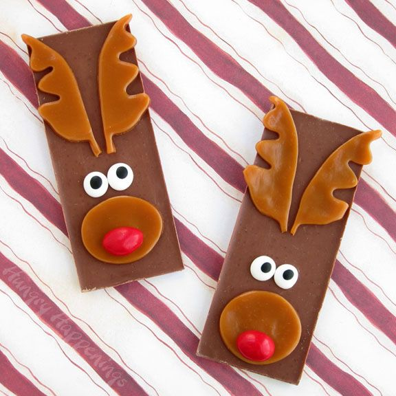 Hungry Happenings: Edible Christmas Craft - Rudolph the Red Nose Reindeer Candy Bars