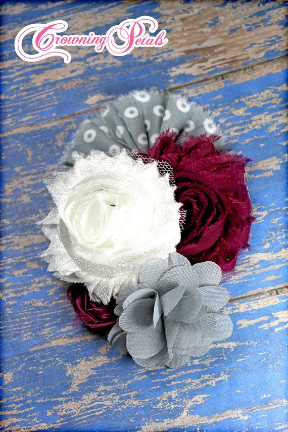 Flower Headband White Grey Wine Hair Accessory by CrowningPetals, $20.00
