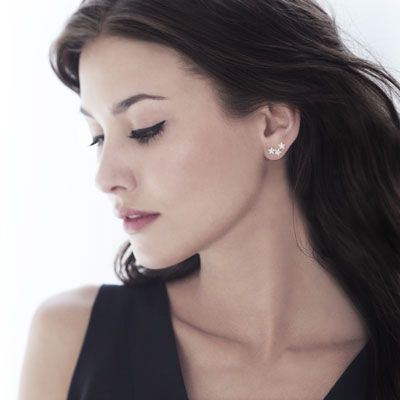 Boucles d'oreille argent 925 zirconia - vue porté 2