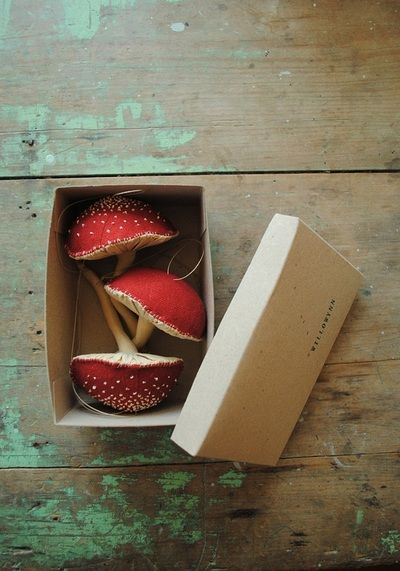 Red fabric mushroom hanging ornaments by Willowynn