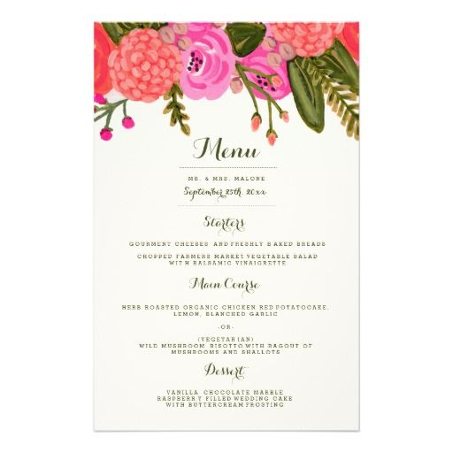192 best wedding dinner menu images on Pinterest Wedding dinner - formal dinner menu template