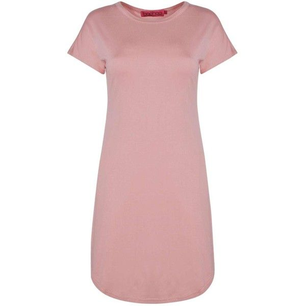 Boohoo Taylor Curved Hem Roll Sleeve TShirt Dress | Boohoo (300 MXN) ❤ liked on Polyvore featuring dresses, bodycon evening dresses, special occasion dresses, pink cami, pink cocktail dress and pink t shirt dress