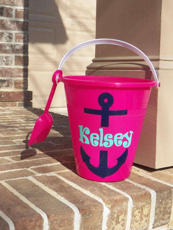 Anchor Personalized Sand Beach Buckets by polkadotsmg on Etsy, $9.99