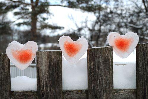 Valentine day ice hearts