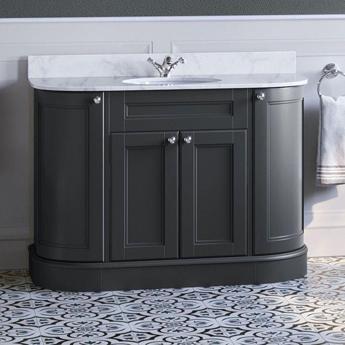 Large Grey Vanity Unit Marble Top