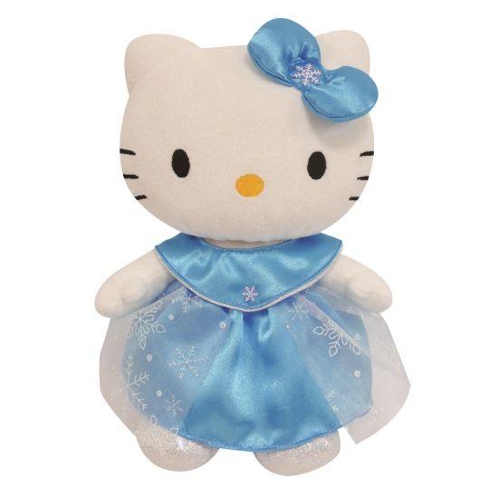 Pluche Hello Kitty ijsprinses. Pluche Hello Kitty knuffel in blauwe prinsessen kleding. Het formaat van de Hello Kitty knuffel is ongeveer 27 cm.
