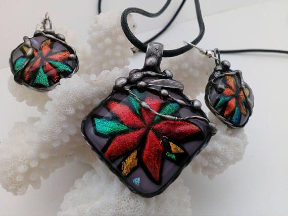 Stained glass jewelry Set Magic Flowers-2. Tiffany