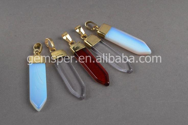 Ponto de quartzo de cristal facetado pingente de espada, jóias de pedras preciosas