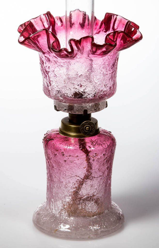 Lot:EXTREMELY RARE OVERSHOT MINIATURE OIL LAMP, Lot Number:254, Starting Bid:$250, Auctioneer:Jeffrey S. Evans & Associates, Auction:EXTREMELY RARE OVERSHOT MINIATURE OIL LAMP, Date:04:30 AM PT - Oct 18th, 2014