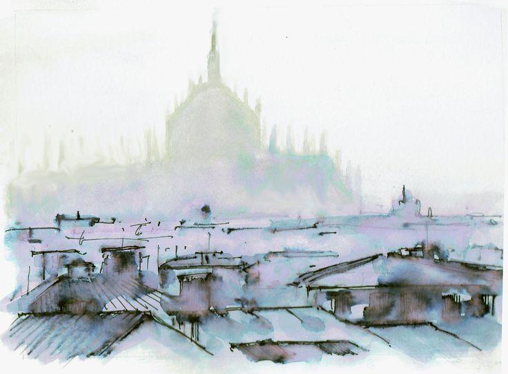 Milano, acquerello e china