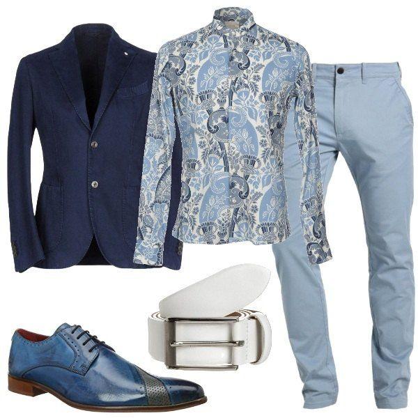 Uomo Coreana Outfit Blu E Pantaloni kwuTOZiPX