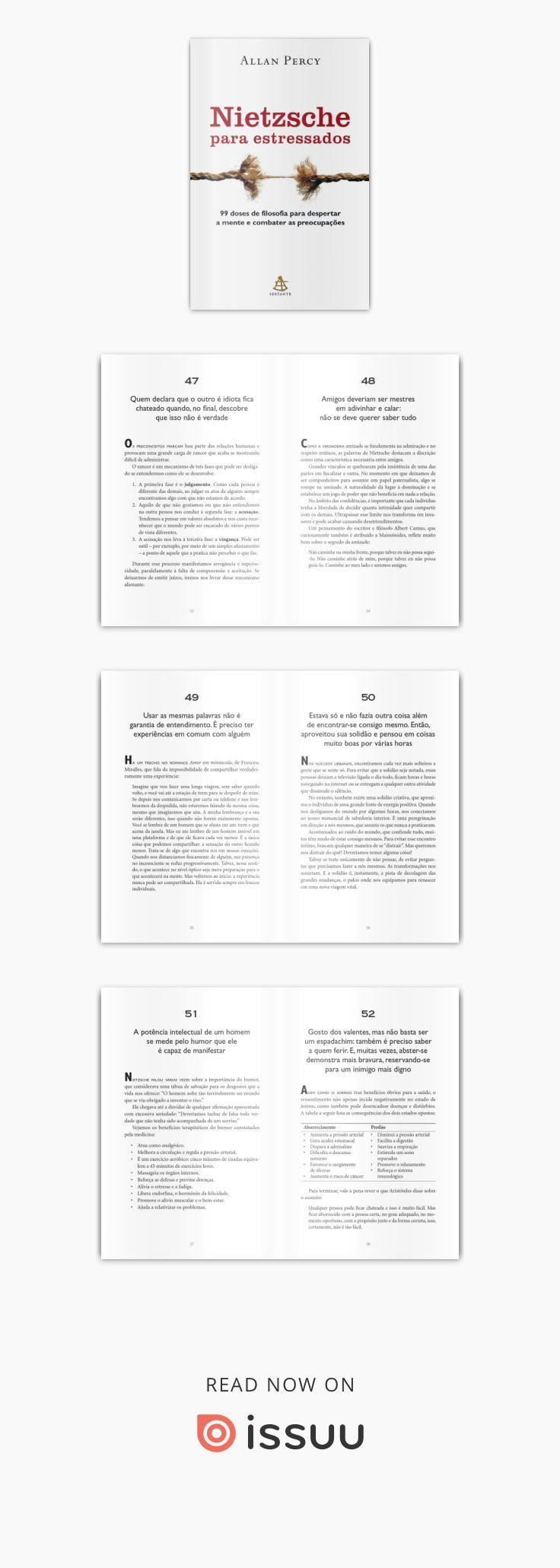 Nietzsche para estressados é um manual inteligente e estimulante que reúne 99 máximas do gênio alemão e sua aplicação a várias situações do dia a dia. A sabedoria de Nietzsche é de grande utilidade na busca de uma solução para uma série de problemas, tanto na vida pessoal quanto na profissional. Este breve curso de filosofia cotidiana foi criado por Allan Percy para nos auxiliar nos momentos em que precisamos tomar decisões, recuperar o ânimo, encontrar o caminho certo e relativizar a…