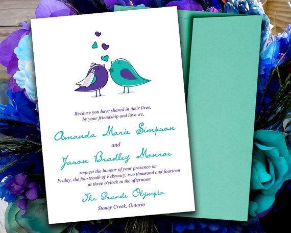 DIY Wedding Invitation Template Love Birds Bride Groom Regency Purple Teal Turquoise Download