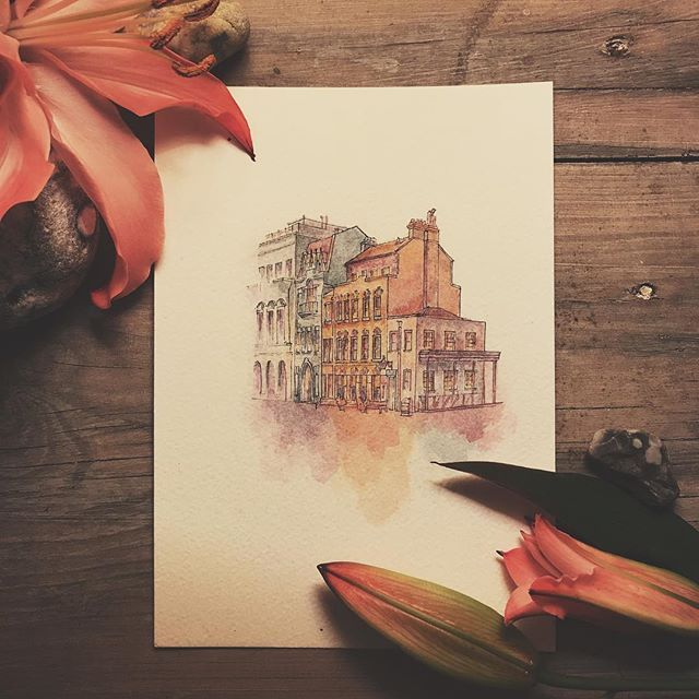 New one. First piece of wandering the streets of St Helier. ❤️🐥🐒 #sthelier #jerseychannelislands #theroyalsquare #artsyme #watercolor #houses #drawing #ink #wanderthestreetsofjersey