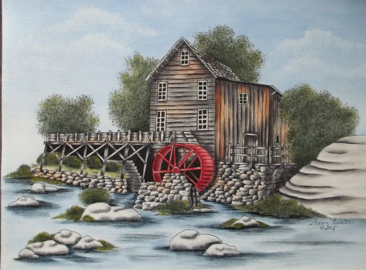 """""""Glade Creek Grist Mill"""" (Babcock State Park is a state park located along the New River Gorge on 4,127 acres wooded in Fayette County, West Virginia).  This is a Pen & Ink with Oil Rouging pattern packet. If you wish to purchase a completed piece of artwork visit my website on how to contact me and additional details: www.sharonkuester.com"""