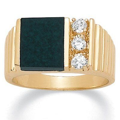 Mens .30 TCW Emerald-Shaped Genuine Onyx Cubic Zirconia Accent 14k Yellow Gold-Plated Classic Ring Palm Beach Jewelry. $19.95