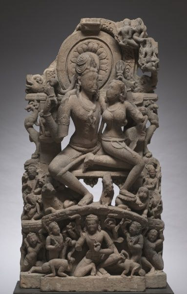 Ravana Shaking Mount Kailasa, 700s. Central India, Madhya Pradesh, Chandela Dynasty, 8th century,sandstone. In one episode of Shiva's mythology, he presses down his big toe to quell the ten-armed demon Ravana, who tried to steal Mount Kailasa and take it away to his island. As Ravana was trying to shake the mountain loose, Parvati turned and clung to Shiva in fear-the moment depicted in this magnificent sculpture, which once formed part of a temple exterior.