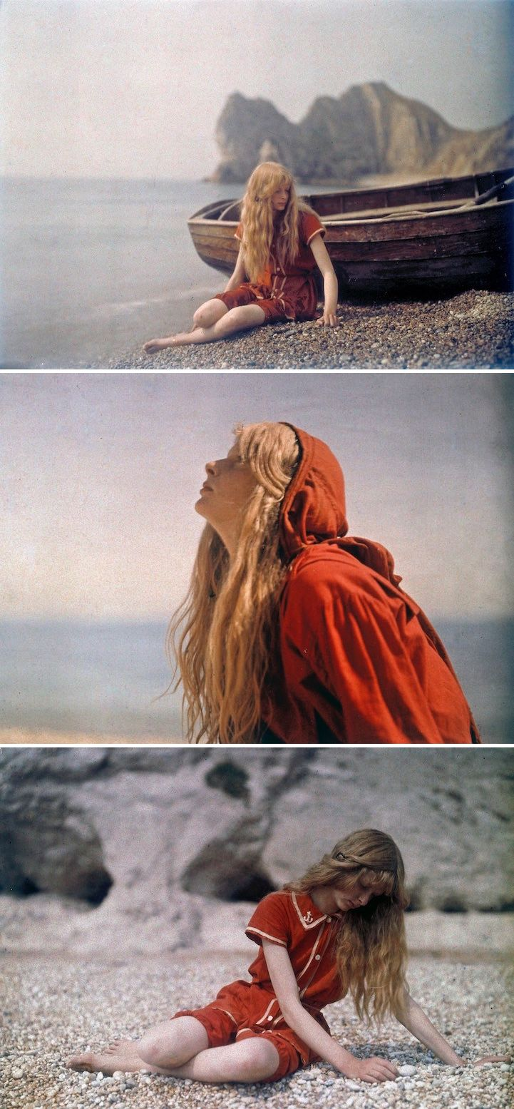 Electrical engineer Mervyn O'Gorman captured these beautifully vibrant photos of his daughter Christina at Lulworth Cove in Dorset, England in 1913. #vintage #photography