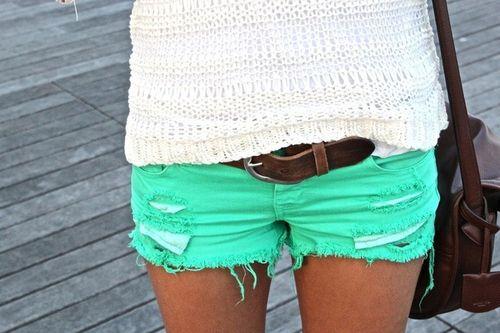 Mint green shorts.
