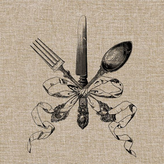 Vintage Spoon, Knife and Fork Tied with a Ribbon - Digital Image No.105 Instant…