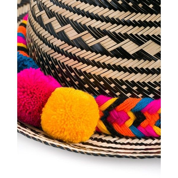 Yosuzi Pom-Pom Detail Hat (£260) ❤ liked on Polyvore featuring accessories, hats, wide brim hat, pompom hat, stripe hat, wide brim straw hat and pom pom hat