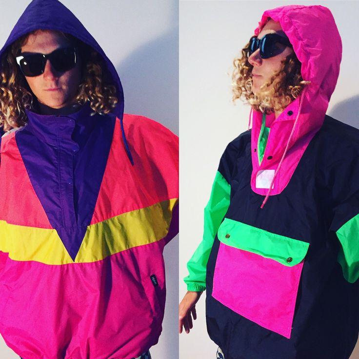 Trying on the retro neon snowboard ski gear
