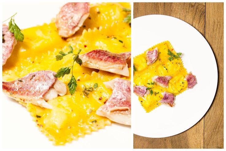 Ravioloni di patate, sugo bianco di triglia e i suoi fegatini. #ravioloni #nostranopesaro #cartanostrano
