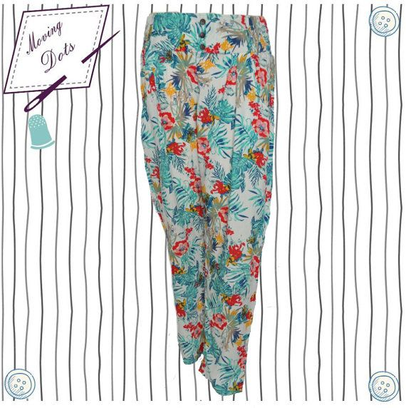 Floral Cotton Summer Elastic Pants by MovingDots on Etsy