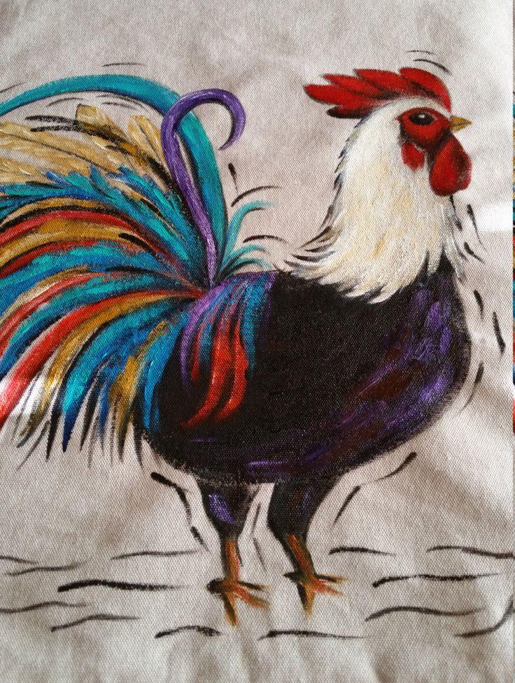 Cojines de gallos. Pintado a mano listo para adornar cualquier area. de Carminaalcalaart en Etsy