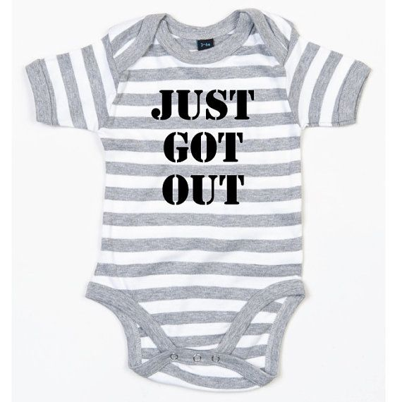 Too cute and comes in blue stripes! ~ Just Got Out. Funny Baby Bodysuit. Striped Baby Grow. by SoPinkUK