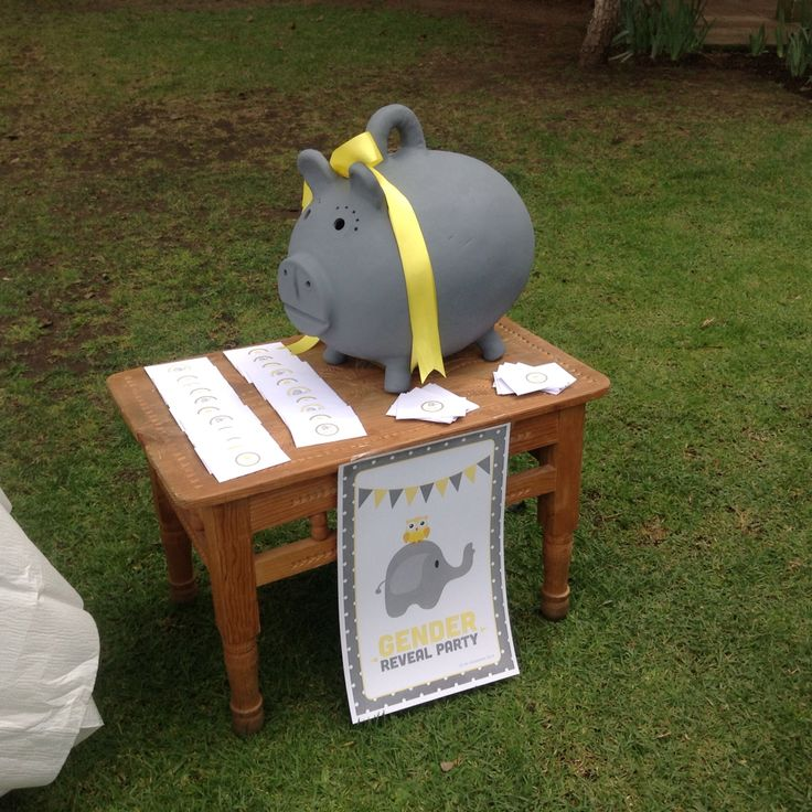 Gender Reveal Party yellow and gray