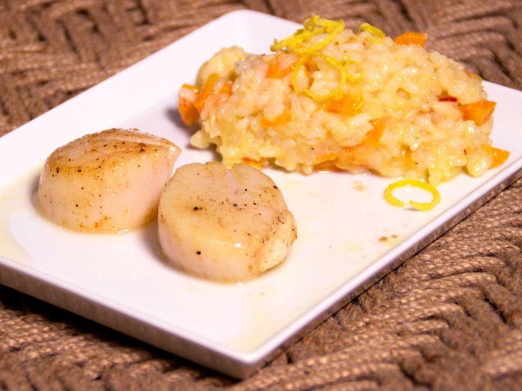 Pilgrimsmusslor med citronrisotto | Recept från Köket.se