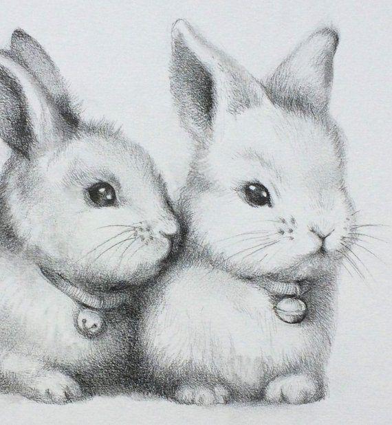 ORIGINAL Cute Bunnys Pencil Drawing, Rabbit Couple Sketch