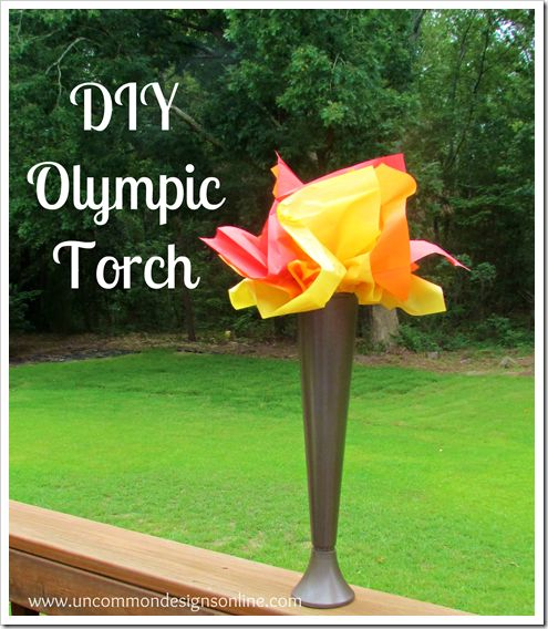 Olympic Torch  craft.  As the Winter Games approach, have fun making your own torch!  Easy and inexpensive with items from the Dollar Store!  #olympics  via www.uncommondesignsonline.com