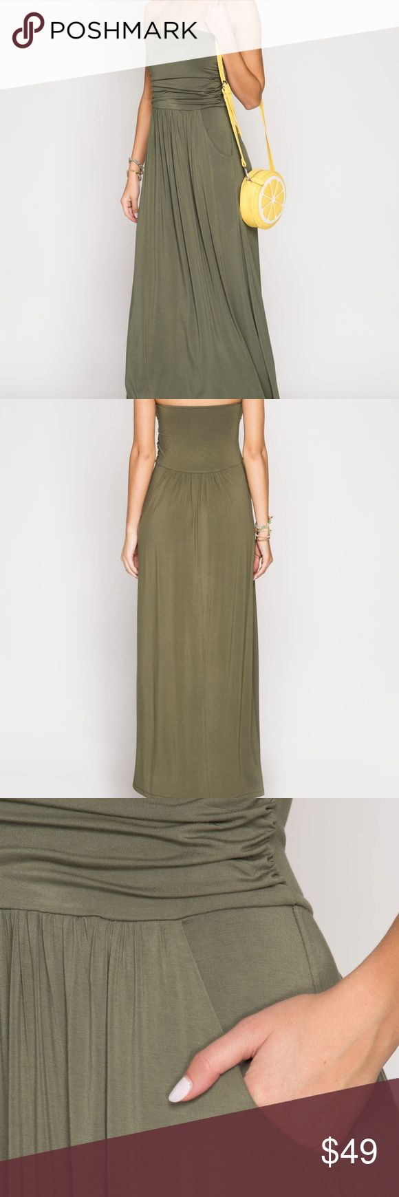 ❤️🔥! Tube Maxi Dress w/ Pockets- Olive, NWT RARE FIND! Tube Maxi Dress w/ Pockets  OLIVE  NWT  TRUE TO SIZE, MODEL IS WEARING A SMALL  70% Cotton 30% Rayon She and Sky Dresses Maxi