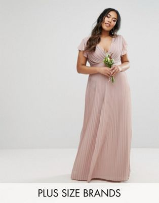 TFNC Plus Wedding V Front Maxi Dress With Frill Sleeve