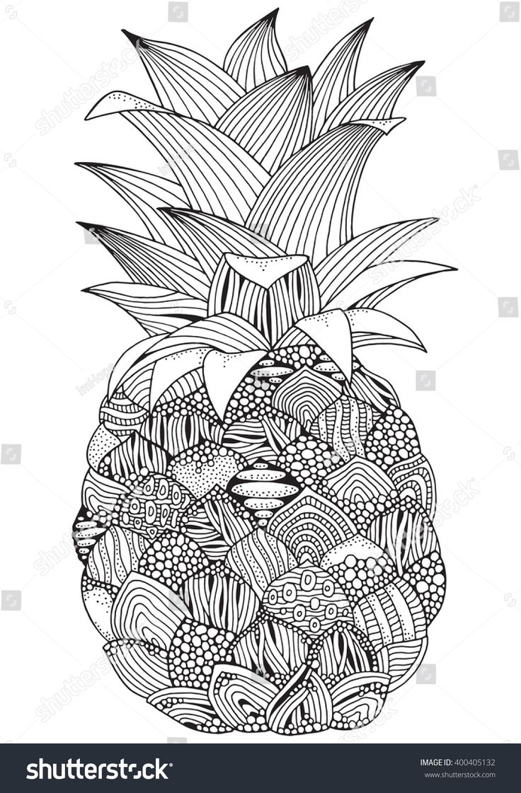 Artistic pineapple on white background. Handdrawn, doodle